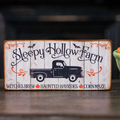 Dollhouse Miniature Sleepy Hollow Farm Sign - Decorative Halloween Sign - 1:12 Dollhouse Miniature Halloween Sign
