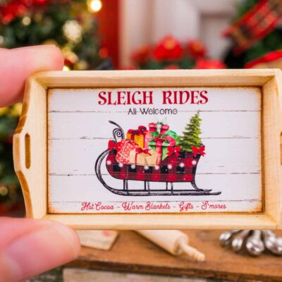 Dollhouse Miniature Sleigh Rides Christmas Wood Tray - 1:12 Dollhouse Miniature Christmas Decor - Christmas Miniatures