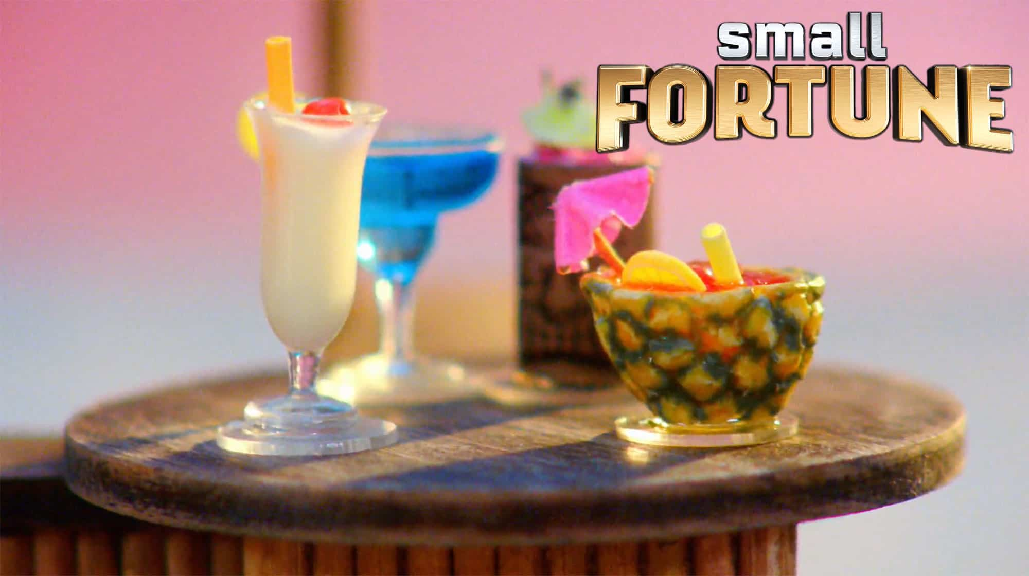 Tiny dollhouse miniature cocktails by Erika Pitera of The Petite Provisions Co. featured on NBC's Small Fortune game show competition