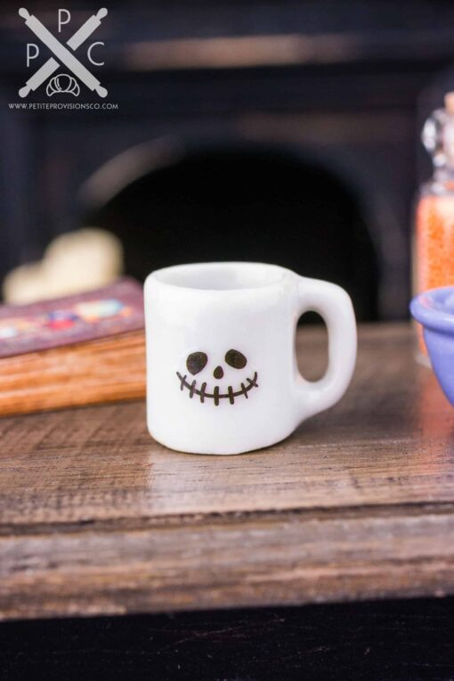 Dollhouse Miniature Smiley Skull Halloween Mug