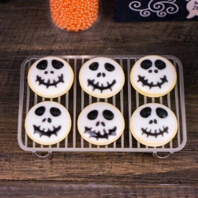 Dollhouse Miniature Grinning Skulls Halloween Cookies - Half Dozen - 1:12 Dollhouse Miniature - Halloween Miniatures
