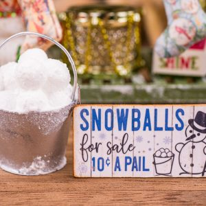 Pail of Snowballs and Snowballs for Sale Sign