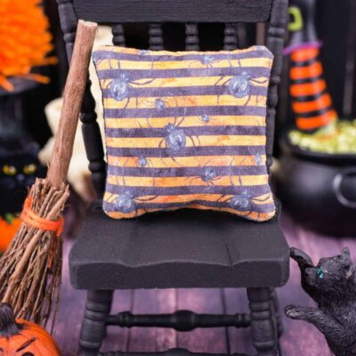 Dollhouse Miniature Spiders and Stripes Halloween Pillow - 1:12 Dollhouse Miniature Halloween Throw Pillow
