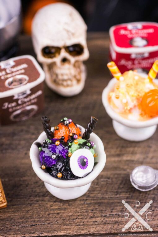 Dollhouse Miniature Spooky Ice Cream Sundae - 1:12 Dollhouse Miniature Halloween Ice Cream