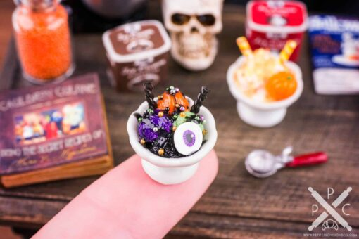 Dollhouse Miniature Spooky Ice Cream Sundae - 1:12 Dollhouse Miniature Halloween Ice Cream
