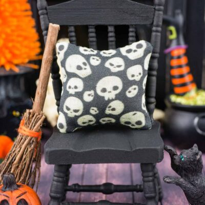 Dollhouse Miniature Spooky Skulls Halloween Pillow - 1:12 Dollhouse Miniature
