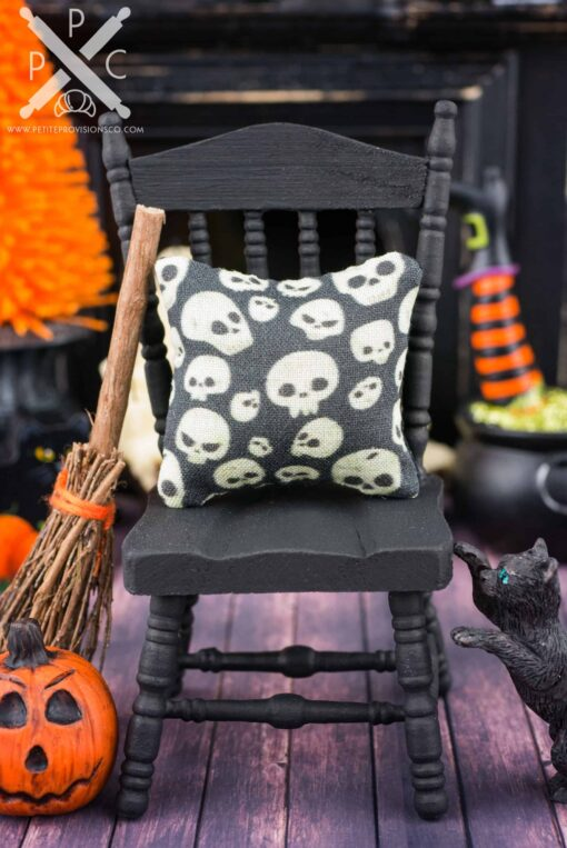 Dollhouse Miniature Spooky Skulls Halloween Pillow - 1:12 Dollhouse Miniature