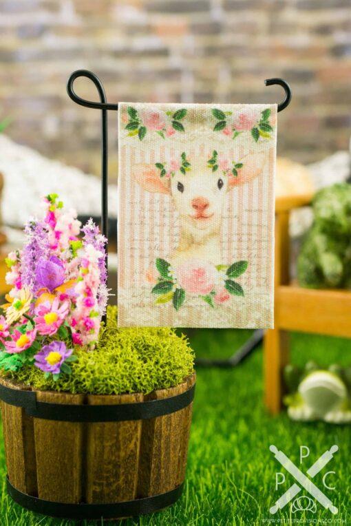 Dollhouse Miniature Spring Lamb Easter Garden Flag