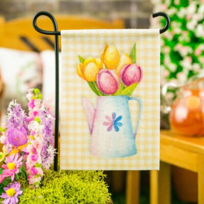 Dollhouse Miniature Spring Tulips Yellow Gingham Garden Flag