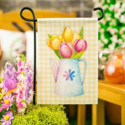 Dollhouse Miniature Spring Tulips Yellow Gingham Garden Flag