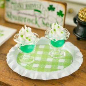 St. Patrick's Day Puddings on Tray