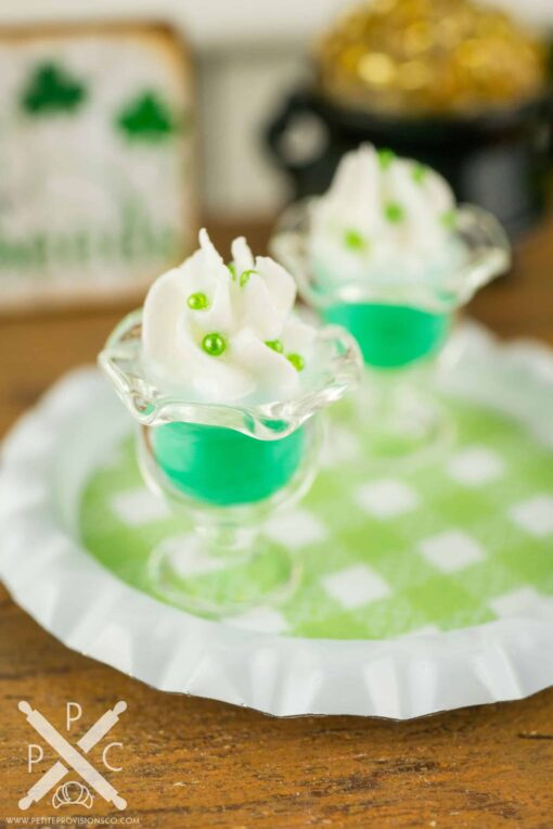 Dollhouse Miniature St. Patrick's Day Puddings on Tray
