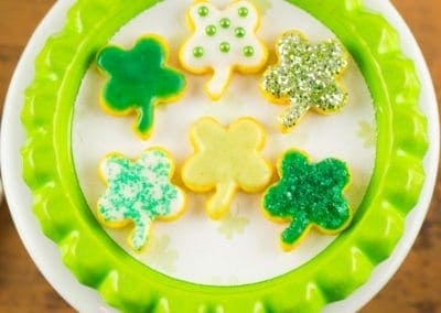 St. Patrick's Day Shamrock Cookies on Tray