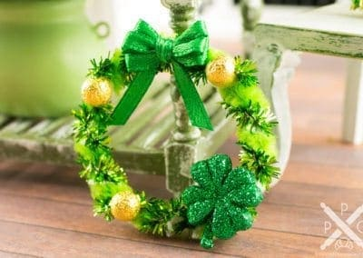 Green and Gold St. Patrick's Day Shamrock Wreath