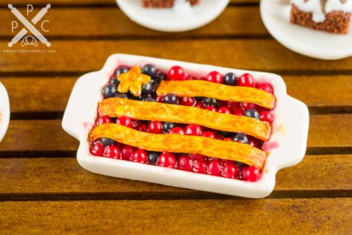 Dollhouse Miniature Stars and Stripes Blueberry and Cherry Slab Pie - 1:12 Dollhouse Miniature 4th of July Dessert