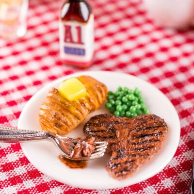 Dollhouse Miniature Grilled T-Bone Steak Dinner with Peas and Hasselback Potato - 1:12 Dollhouse Miniature Barbecue