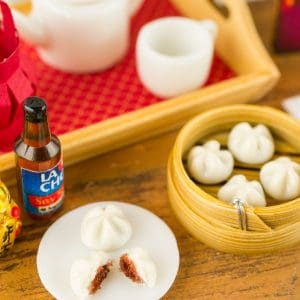 Chinese Steamed BBQ Pork Buns in Bamboo Steamer