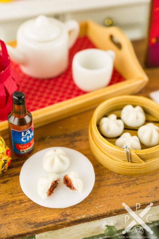 Dollhouse Miniature Chinese Steamed BBQ Pork Buns in Bamboo Steamer