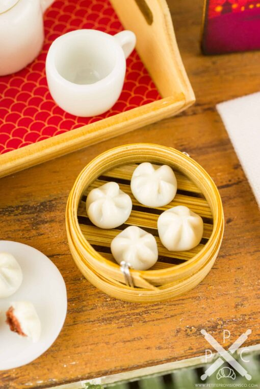 Dollhouse Miniature Chinese Steamed BBQ Pork Buns in Bamboo Steamer