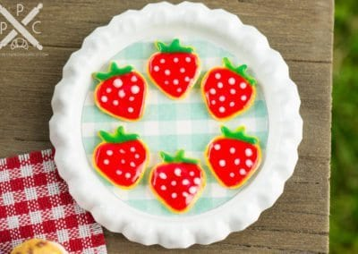 Strawberry Iced Cookies on Tray