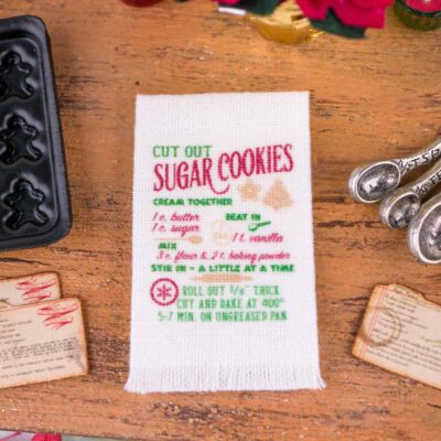 Dollhouse Miniature Sugar Cookies Recipe Tea Towel - 1:12 Dollhouse Miniature - Christmas Miniatures