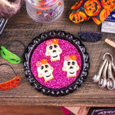 Dollhouse Miniature Dia de los Muertos Sugar Skull Cookies on Tray - 1:12 Dollhouse Miniature Halloween Cookies