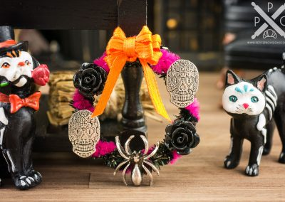 Sugar Skulls and Spider Day of the Dead Wreath