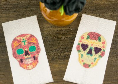 Sugar Skull Towels – Day of the Dead Tea Towels – Set of 2