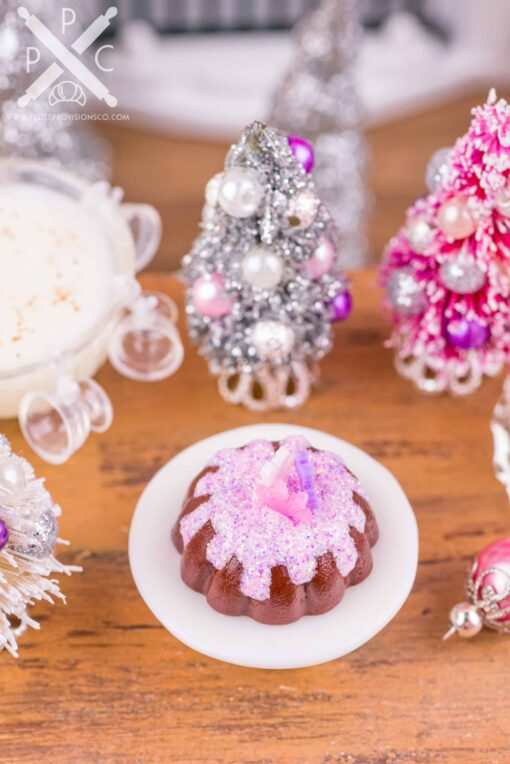 Dollhouse Miniature Christmas Sugarplum Fairy Bundt Cake - 1:12 Dollhouse Miniature - Miniature Christmas