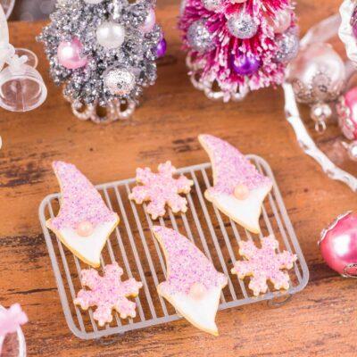 Dollhouse Miniature Sugarplum Gnome and Snowflake Cookies - Half Dozen - 1:12 Dollhouse Miniature Christmas Cookies