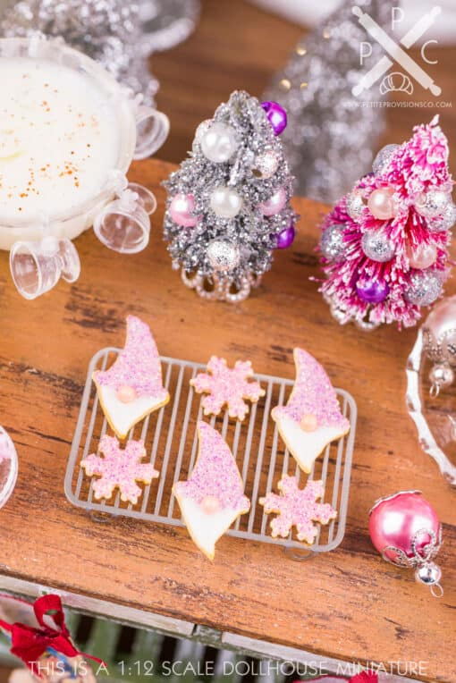 Dollhouse Miniature Sugarplum Gnome and Snowflake Cookies - Half Dozen - 1:12 Dollhouse Miniature Christmas Cookies
