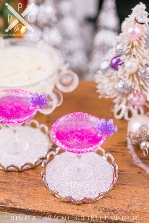 Dollhouse Miniature Sugarplum Fairy Martini with Tray - 1:12 Dollhouse Miniature Christmas Cocktail