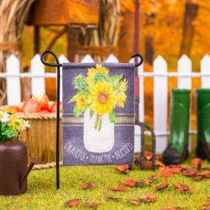 Grateful Thankful Blessed Sunflowers Garden Flag