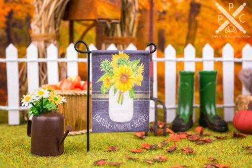 Dollhouse Miniature Grateful Thankful Blessed Sunflowers Garden Flag - 1:12 Dollhouse Miniature Garden Flag