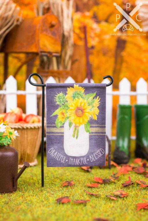 Dollhouse Miniature Grateful Thankful Blessed Sunflowers Garden Flag - 1:12 Dollhouse Miniature Garden Flag