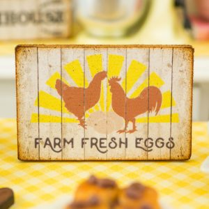 Sunny Farm Fresh Eggs Sign – Decorative Farmhouse Sign – 1:12 Dollhouse Miniature