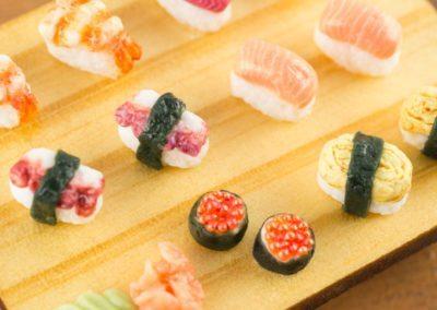 Sushi Set on Wooden Tray