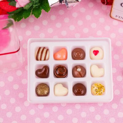 Dollhouse Miniature Sweet Heart Valentine Fine Chocolates - Gourmet Chocolate Box - 1:12 Dollhouse Miniature Chocolates