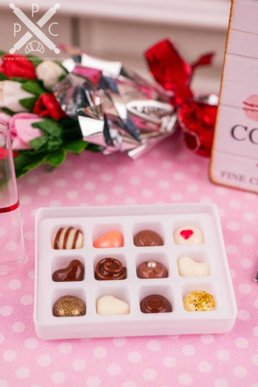 Dollhouse Miniature Sweet Heart Valentine Fine Chocolates - Gourmet Chocolate Box - 1:12 Dollhouse Miniature Chocolates