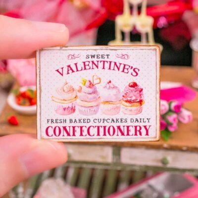 Dollhouse Miniature Sweet Valentine's Confectionery Sign - 1:12 Dollhouse Miniature Valentine's Day Sign