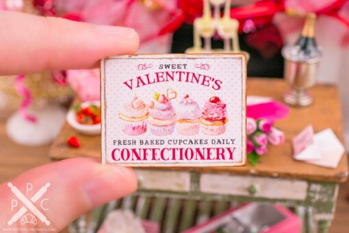 Dollhouse Miniature Sweet Valentine's Confectionery Sign - 1:12 Dollhouse Miniature Valentine's Day Sign