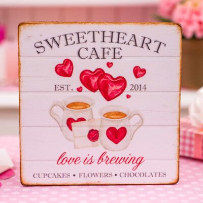 Dollhouse Miniature Sweetheart Cafe Valentine's Day Sign - 1:12 Dollhouse Miniature Valentine's Day Sign