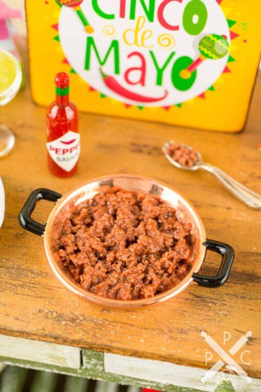 Dollhouse Miniature Taco Making Set - Hard Taco Prep Set - Making Beef Tacos