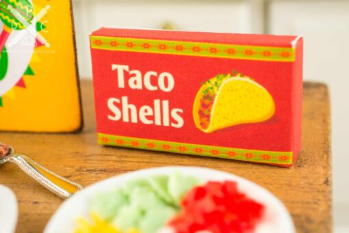 Dollhouse Miniature Taco Making Set - Hard Taco Prep Set - Making Beef Tacos