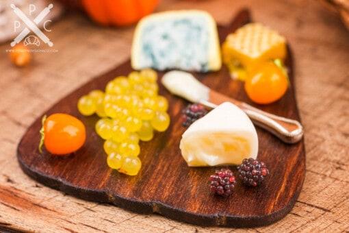 Dollhouse Miniature Autumn Pumpkin Cheese Board with Fruit - 1:12 Dollhouse Miniature Cheese Board
