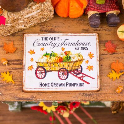 Dollhouse Miniature The Olde Country Farmhouse Sign - Decorative Autumn Sign - 1:12 Dollhouse Miniature Fall Sign