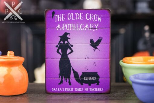 Dollhouse Miniature The Olde Crow Apothecary Sign - Decorative Halloween Sign - 1:12 Dollhouse Miniature Halloween Sign