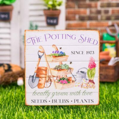 Dollhouse Miniature The Potting Shed Sign