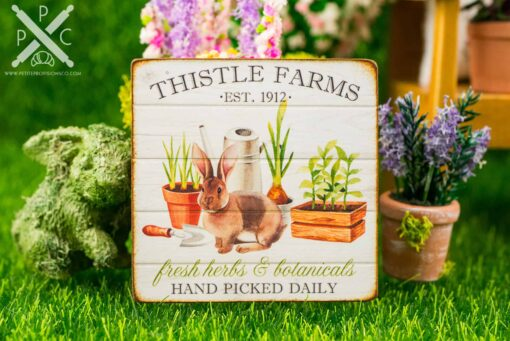 Dollhouse Miniature Thistle Farms Sign