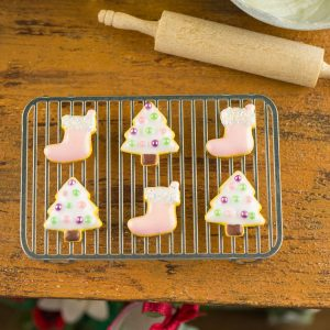 White Christmas Trees and Pink Stockings Cookies – Half Dozen